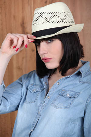 Woman wearing a Panama hat photo