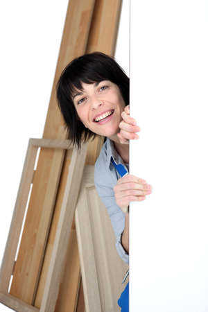 Playful female carpenter Stock Photo - 13343973