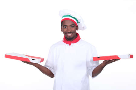 Take out pizza guy Stock Photo - 13343823