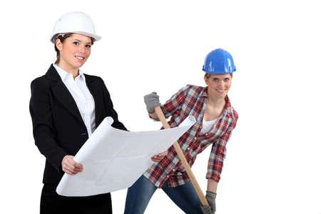 female architect: Female architect and builder Stock Photo