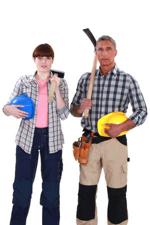 two construction workers posing together photo