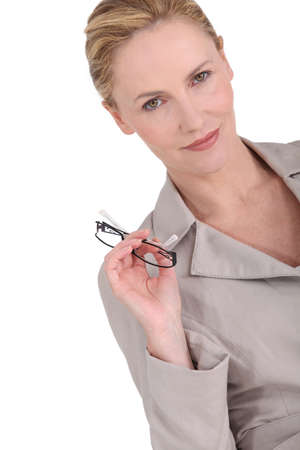 35 39 years: businesswoman with glasses Stock Photo