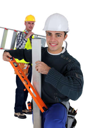 Two artisan workers arriving at work Stock Photo - 13344010