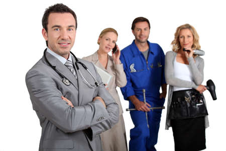 Four people from different professional backgrounds Stock Photo - 13344219