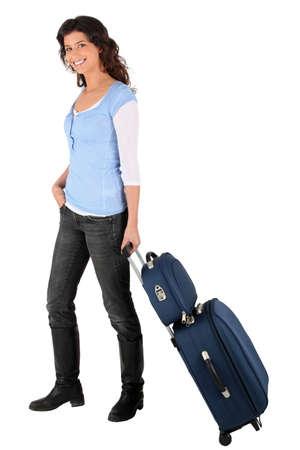 wheeling: Brunette wheeling luggage