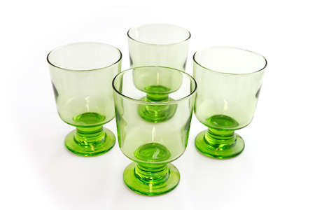 foot ware: Four matching green goblets
