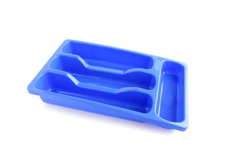 seperated: Blue plastic cutlery tray