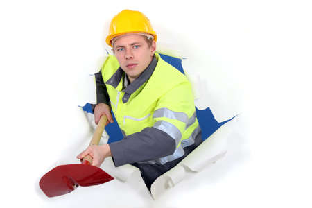 Worker with ax busting through background Stock Photo - 13344001