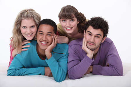 four friends: Two young couples Stock Photo