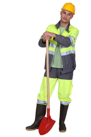 worker with shovel Stock Photo - 13343977