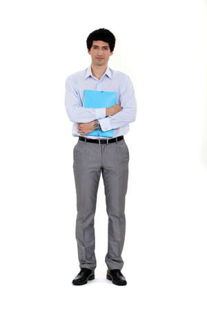 file clerks: Clerk holding a folder