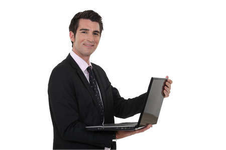 median age: Man with laptop