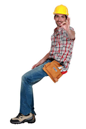 A male construction worker making an ok sign  Stock Photo - 13343984