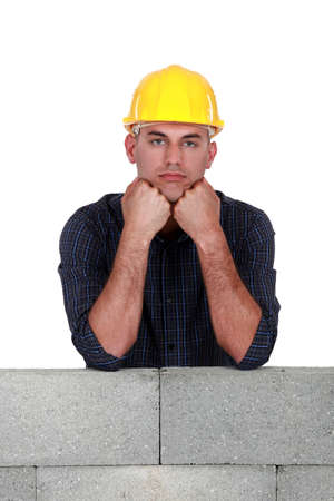 Bored construction worker Stock Photo - 13344122