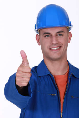Plumber the giving the go-ahead Stock Photo - 13344133
