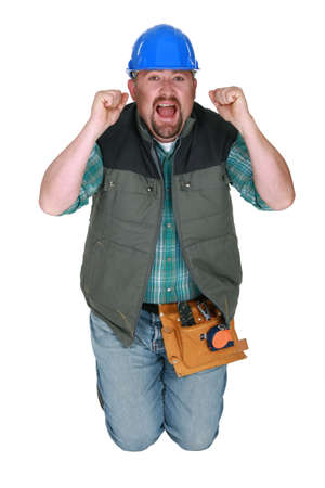 Screaming workman Stock Photo - 13343960