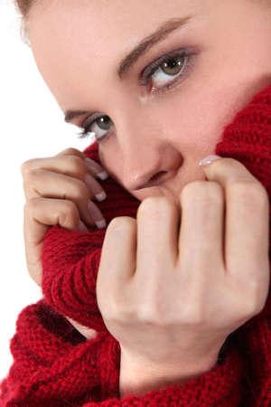 woman wearing red wool sweater photo