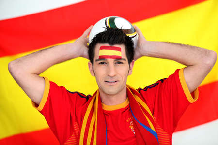 Spanish football fan Stock Photo - 13344202