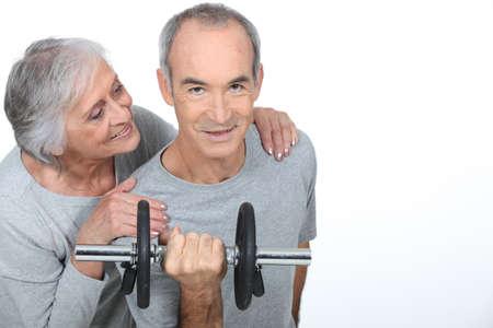 third age: exercise for senior Stock Photo