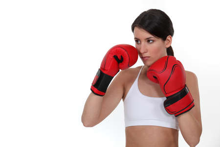 Brunette female boxer photo