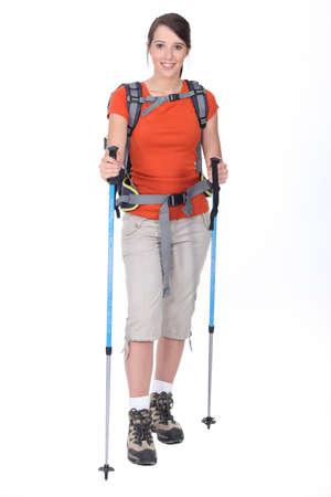 rambling: Woman preparing to go hiking