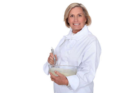 barker: cook mixing Stock Photo