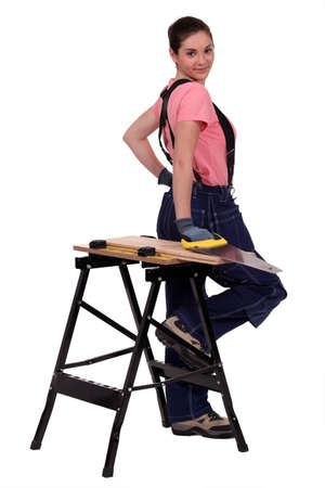 sexy female carpenter photo