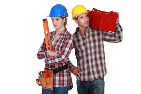 construction crew: Couple with tools