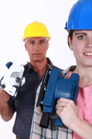 man and woman carpenters photo