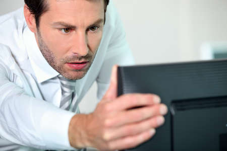 close-up of a man with computer Stock Photo - 13379708