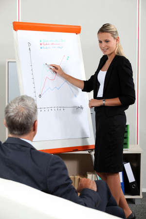 investor: Young businesswoman in a presentation