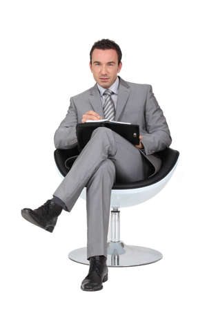 interviewing: businessman Stock Photo