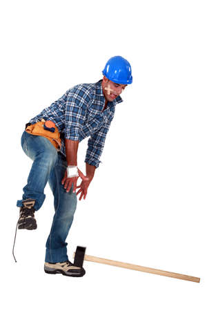 An injured tradesman Stock Photo - 13377866