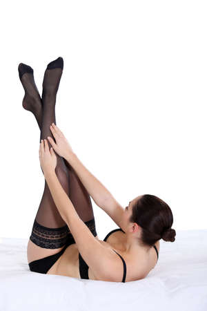 garter belt: woman with black stockings