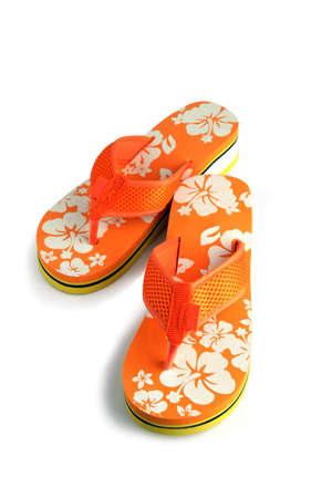shoes off: Orange flip-flops Stock Photo