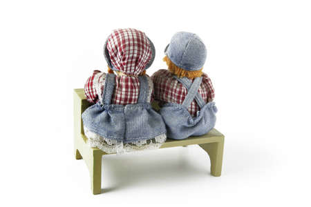 attainments: Toy dolls at a schooldesk Stock Photo