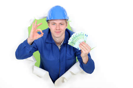 non verbal communication: A hard-working tradesman earning an honest living Stock Photo