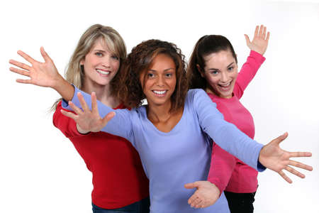 group of teens: Three happy young woman