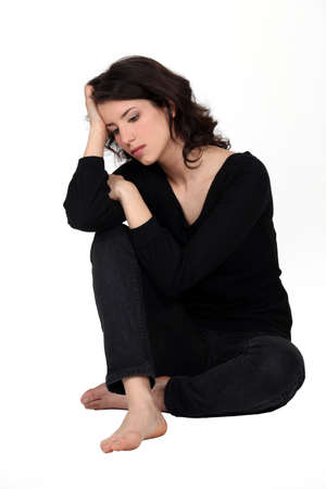 downhearted: A depressed woman