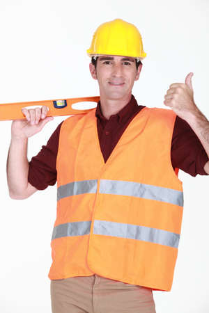 commend: Tradesman giving the thumb Stock Photo