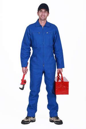 Plumber arriving at work Stock Photo - 13378201
