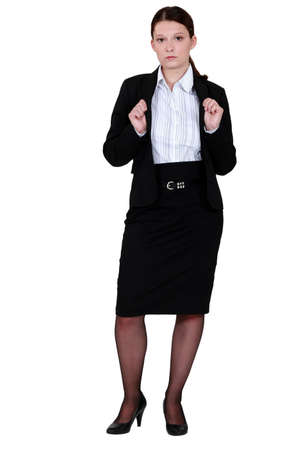 Young woman wearing black suit Stock Photo - 13377203