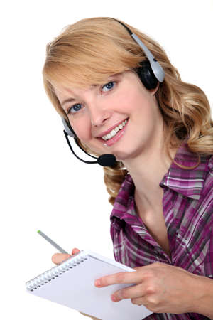 Cheerful call-center worker Stock Photo - 13379906