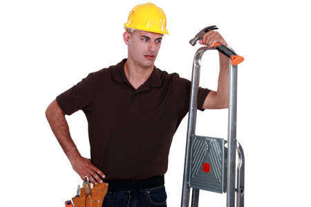 Carpenter with equipment photo
