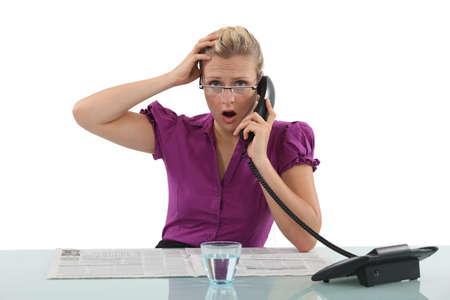 shocking: Woman receiving some shocking news