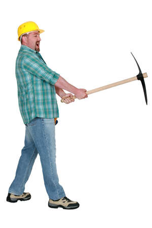 Angry man with pick-axe Stock Photo - 13378263