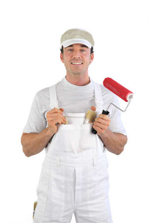decorator: Decorator with a paint roller Stock Photo