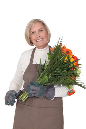 meticulous: Horizontal image of female florist Stock Photo