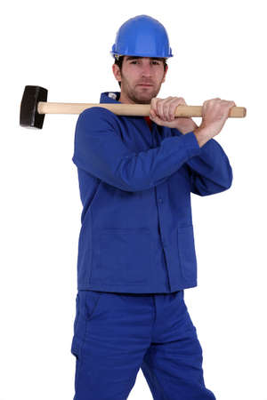 blue collar with hammer photo