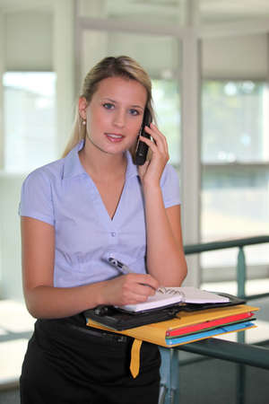 Office worker writing in a diary Stock Photo - 13459392
